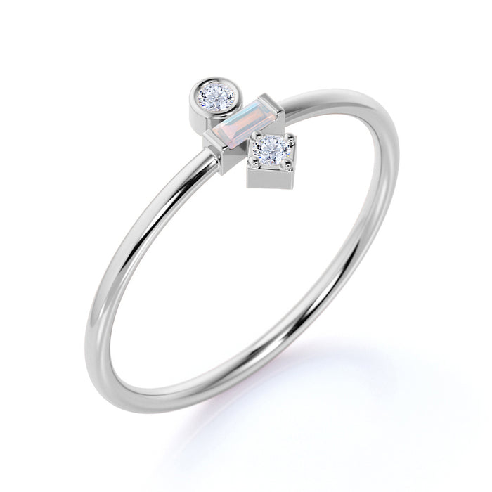 Minimal Baguette Shape Rainbow Moonstone and 3 Stone Diamond Engagement Ring in White Gold