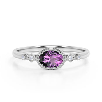 Bestselling East West 1.10 Carat Oval Cut Amethyst and Diamond Bezel Engagement Ring in White Gold