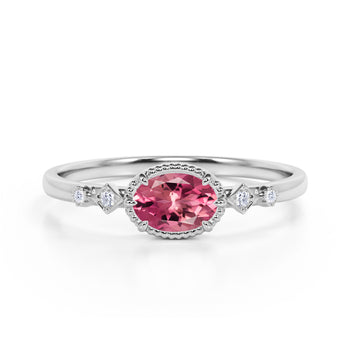 Bestselling East West 1.10 Carat Oval Strawberry Pink Tourmaline and Diamond Bezel Engagement Ring in White Gold