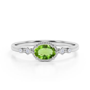 Bestselling East West 1.10 Carat Oval Cut Peridot and Diamond Bezel Engagement Ring in White Gold