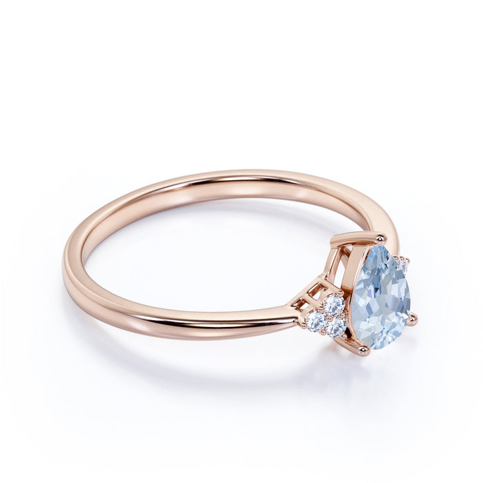 7 Stone Design 1.15 Carat Teardrop Aquamarine and Tapered Shank Diamond Engagement Ring in Rose Gold