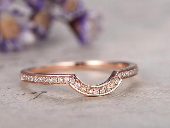 Perfect .25 Carat Round cut Diamond semi Eternity Wedding Ring Band in Rose Gold