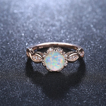 Art Deco Infinity 1.50 Carat Round Cut Fire Opal and Diamond Halo Engagement Ring in Rose Gold