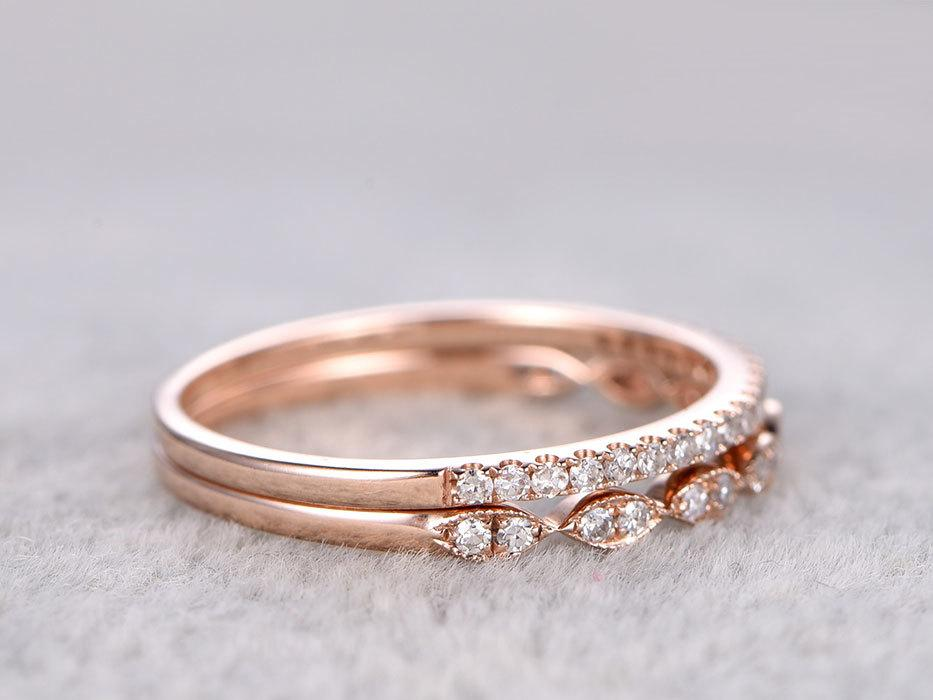 Pair of .50 Carat Round cut Diamond Wedding Ring Band Art Deco in Rose Gold