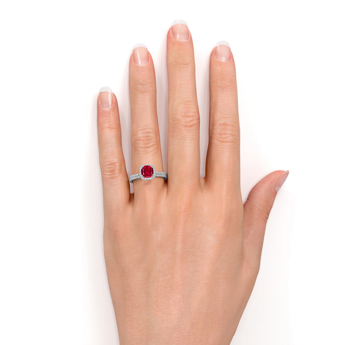 Classic Pave 2 Carat Cushion Cut Ruby and Diamond Halo Bridal Ring Set in White Gold