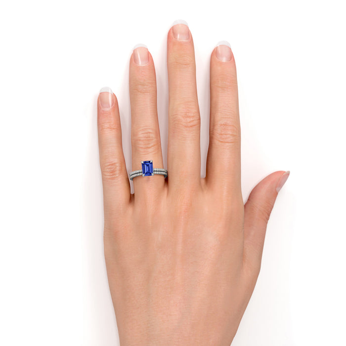 Limited Time Sale: 2 Carat emerald cut Blue Sapphire and Diamond Wedding Ring Set
