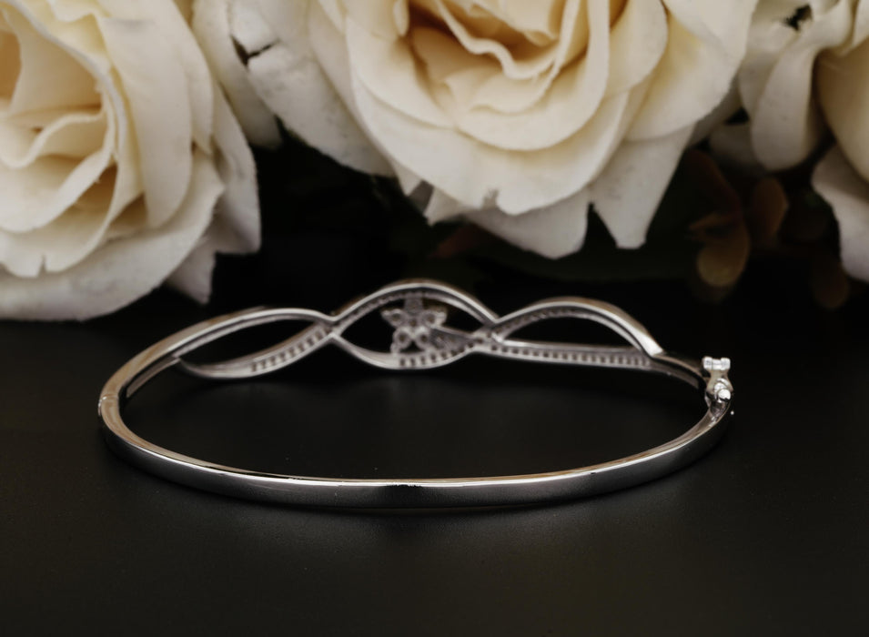 3 Carats Three Row Bangle Bracelet for Women in Sterling Silver
