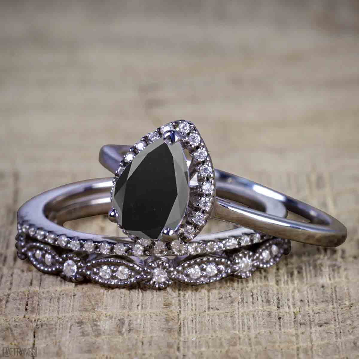 Affordable 1.50 Carat Pear cut Black Diamond Antique Wedding Trio Ring Set in Black Gold