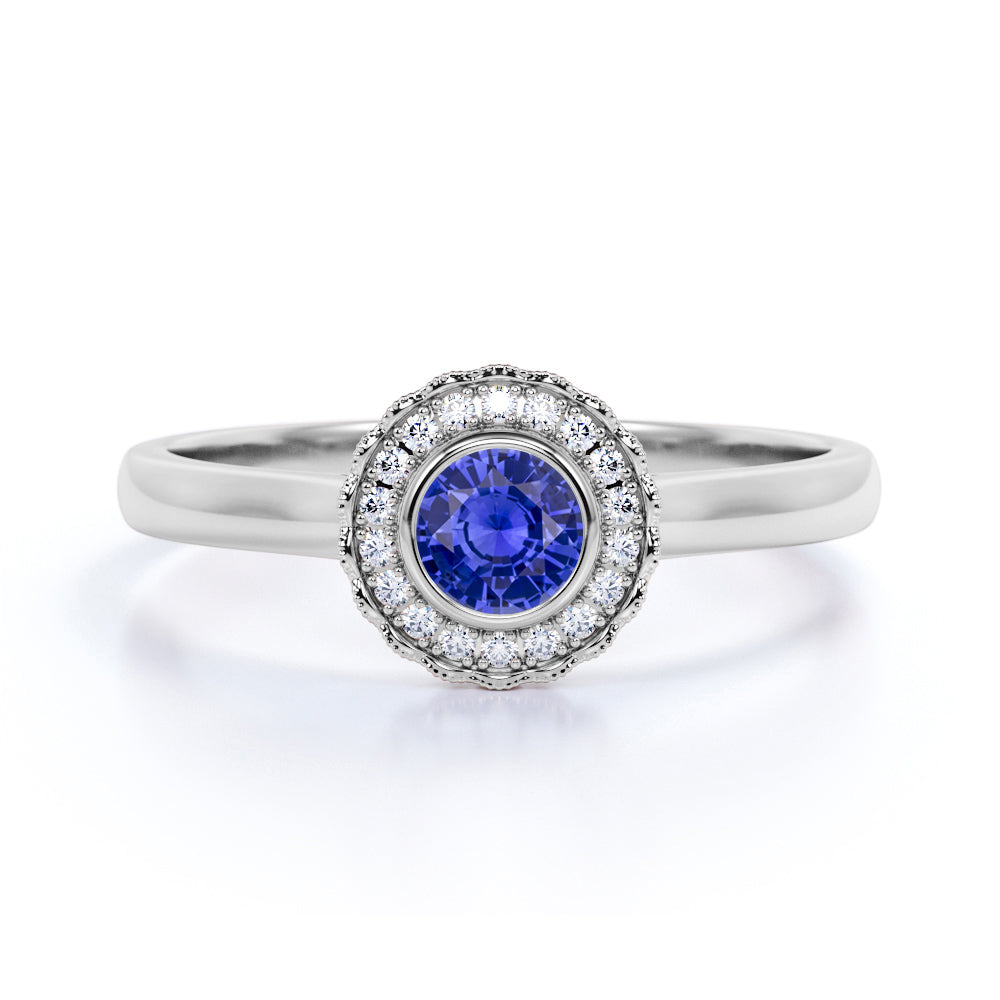 Flower Style 1.25 Carat Round Cut Sapphire and Diamond Engagement Ring in White Gold