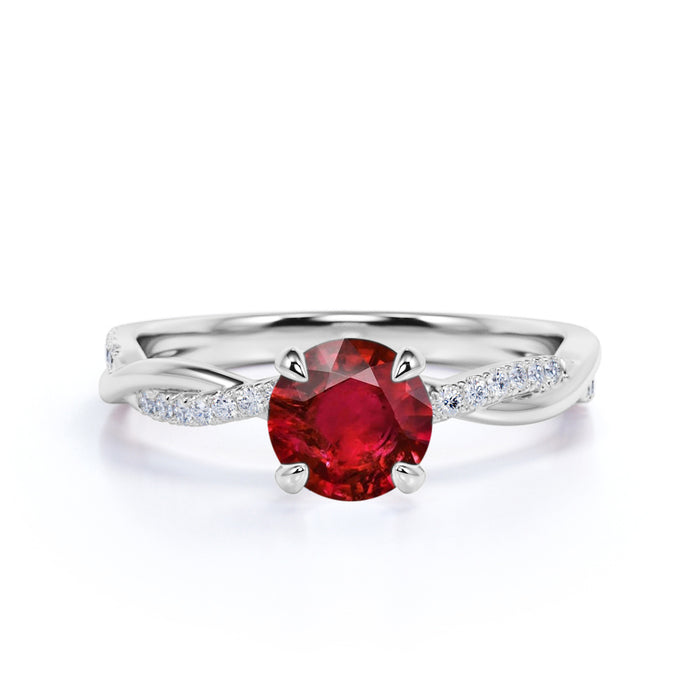 Infinity Twisted 1.50 Carat Round Cut Ruby and Diamond Engagement Ring in White Gold