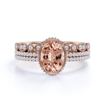 Limited Time Sale 2 carat Morganite and Diamond Trio Wedding Bridal Ring Set in 10k Rose Gold with One Engagement Ring and 2 Wedding Bands
