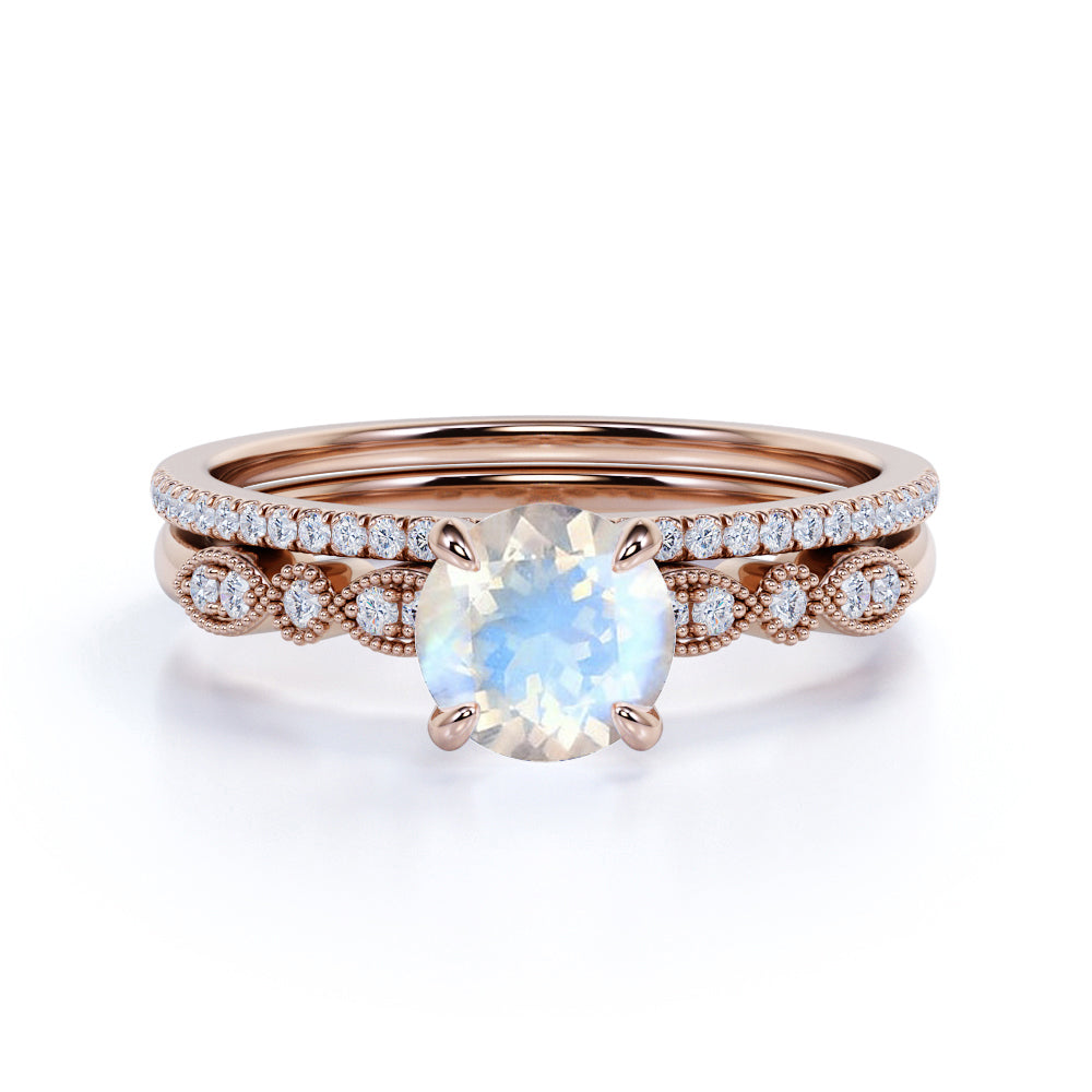 Antique 1.50 Carat Round Cut Rainbow Moonstone and Diamond Vintage Wedding Set with Art Deco Band in Rose Gold