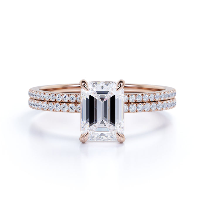 2 Carat emerald cut Moissanite and Diamond Halo Bridal Set in 10k Rose Gold