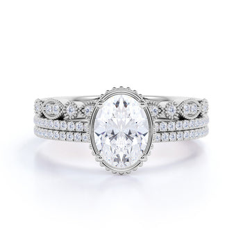 Artdeco 1.50 Carat Oval cut Moissanite and Diamond Trio Wedding Bridal Ring Set 10k White Gold