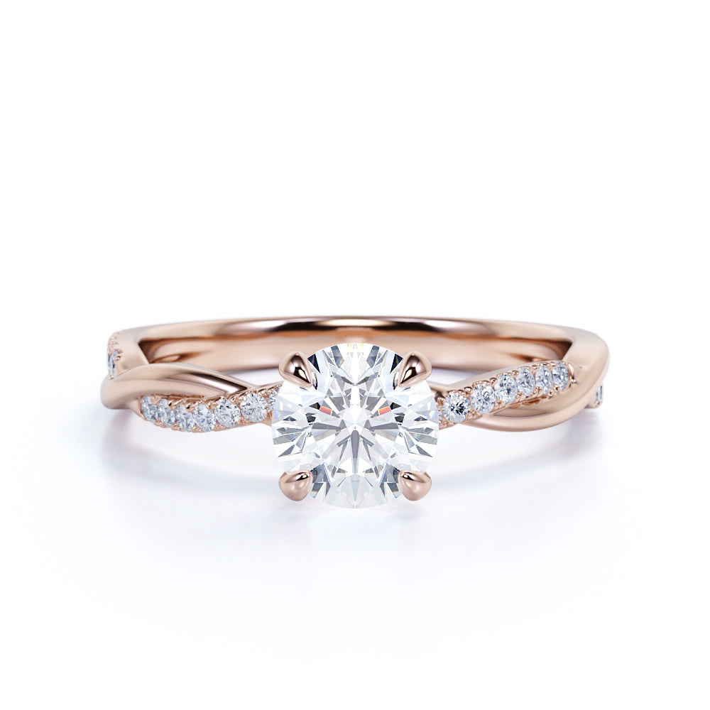 1.25 Carat infinity Round cut Moissanite and Diamond Engagement Ring in 10k Rose Gold