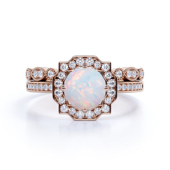 Classic Floral 1.75 Carat Round Cut Ethiopian Opal and Diamond Halo Bridal Ring Set in Rose Gold