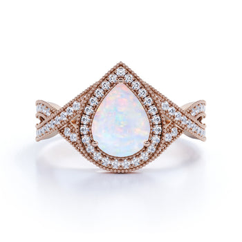 Infinity Design 2 Carat Pear Shape Fire Opal and Diamond Halo Engagement Ring in Rose Gold