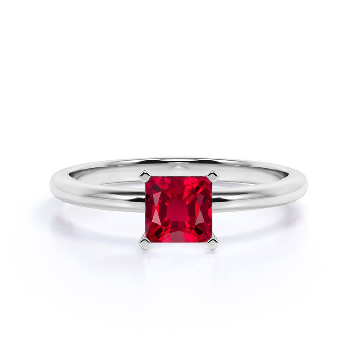 Plain Band 1 Carat Princess Cut Ruby Solitaire Engagement Ring in White Gold