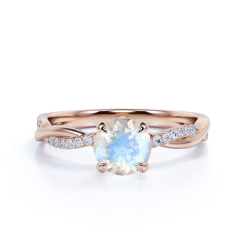 1.50 Carat Round Moonstone Engagement Ring in Rose Gold - Vintage Moonstone Ring