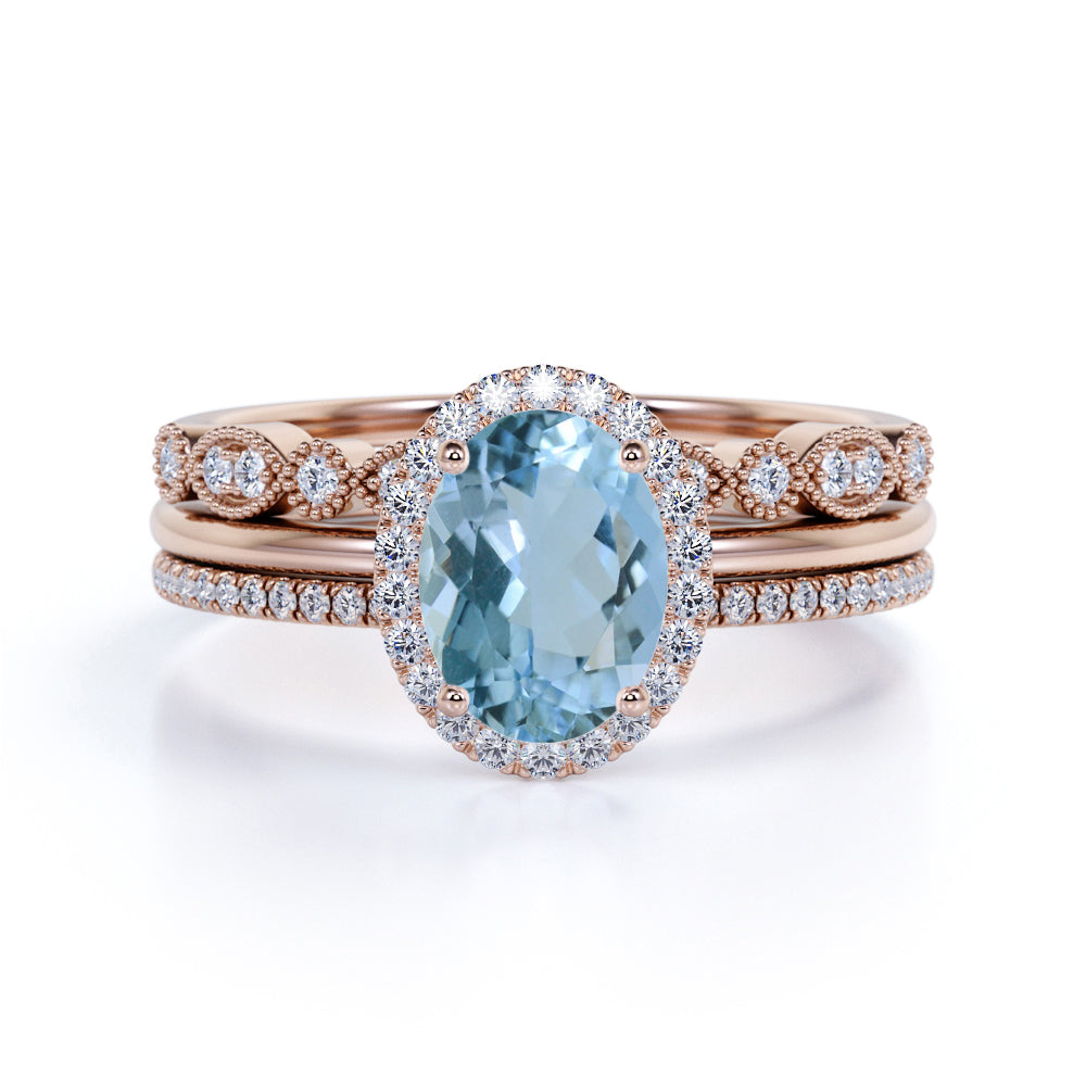 Bestselling 2.25 Carat oval cut Aquamarine and Diamond Trio Wedding Ring Set with art deco band in White Gold