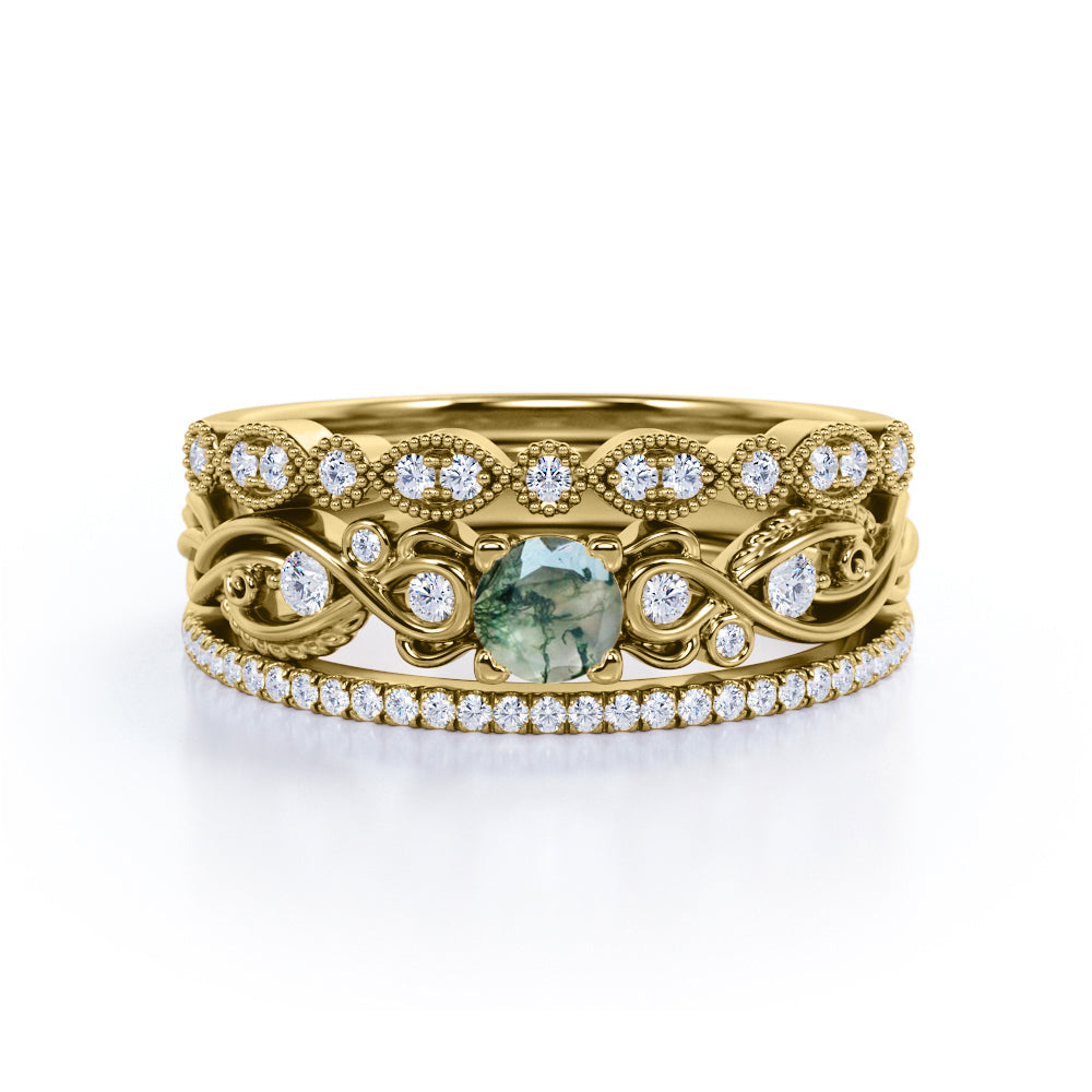 Delicate filigree 1.75 Carat Round Cut Mossy Banded Moss Green Agate with Diamond Half Eternity Pave and Art Deco Bands Trio Ring Sets