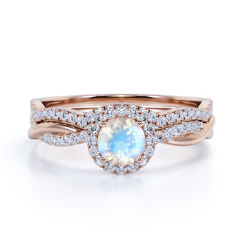 2 Carat Round Rainbow Moonstone and Diamond Halo Wedding Ring Set in Rose Gold