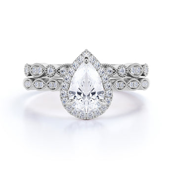 1 Carat Pear Shaped Diamond Halo Art Deco Bridal Set in White Gold