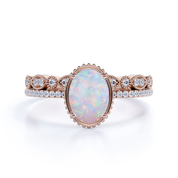 Best Design 2 Carat Oval Fire Opal and Vintage Diamond Engagement Ring Set in Rose Gold