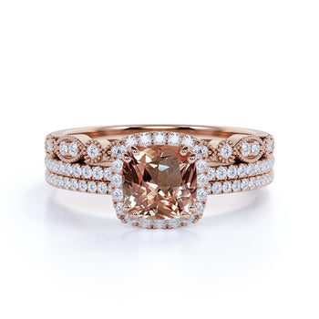 Big 3 Carat cushion cut Morganite and Diamond Halo Trio Wedding Ring Set in Rose Gold