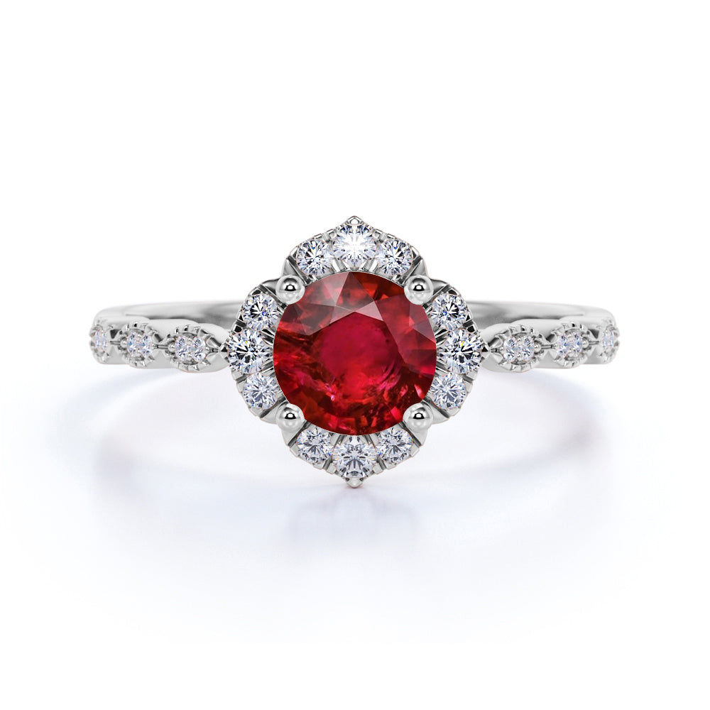 Flower Style 1.25 Carat Round Cut Ruby and Diamond Engagement Ring in White Gold