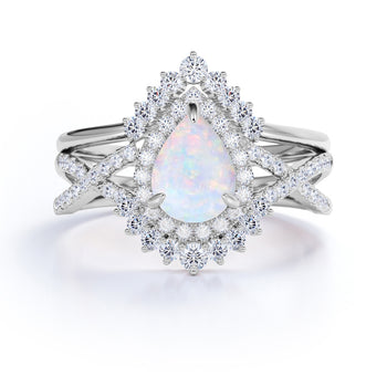 Antique Design 2 Carat Pear White Opal and Halo Diamond Best Bridal Set in White Gold