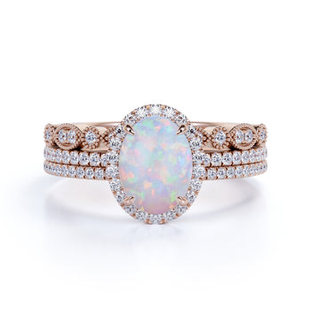 Affordable 2.25 Oval Ethiopian Antique Opal Ring and Halo Diamond in Trio Wedding set