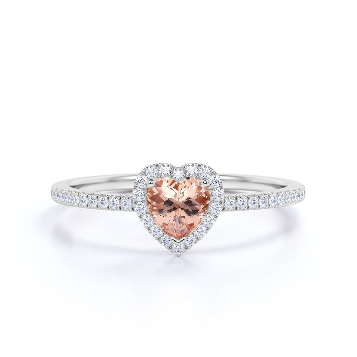 Lovely 1.50 Carat Heart Shape Morganite and Diamond Engagement Ring in White Gold