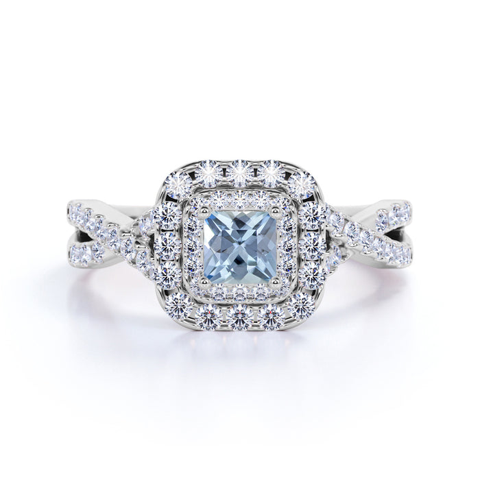 1.50 Carat Cushion Cut Aquamarine and Diamond Halo Engagement Ring in White Gold