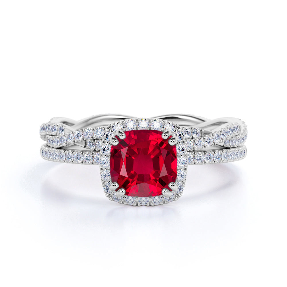Classic Pave 2.25 Carat Cushion Cut Ruby and Diamond Halo Bridal Set with Infinity Band in White Gold