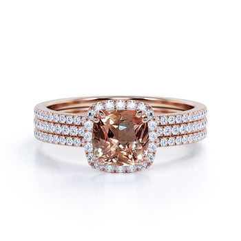 Bestselling 3 Carat cushion cut Morganite and Diamond Halo Trio Wedding Ring Set with Art Deco bands in Rose Gold