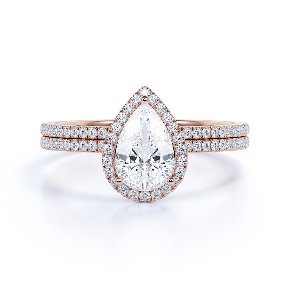 2 Carat pear cut Moissanite and Diamond Halo Bridal Set in 10k Rose Gold