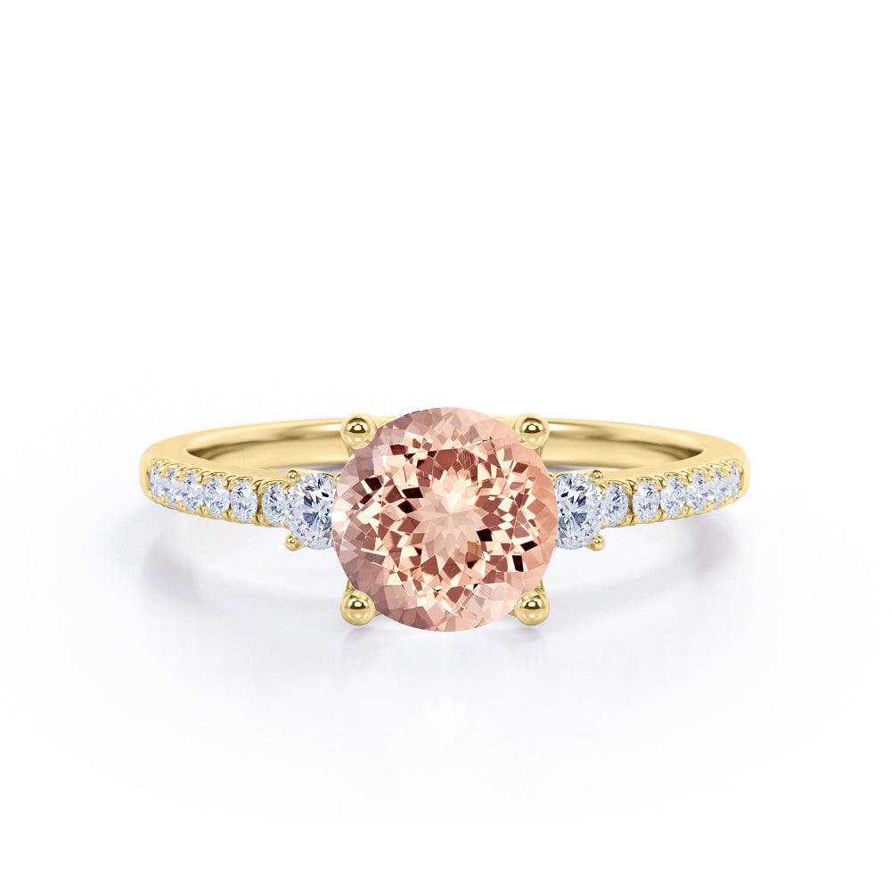 Vintage Art Deco 2 Carat Round Peach Morganite and Diamond Best Engagement Ring in White Gold