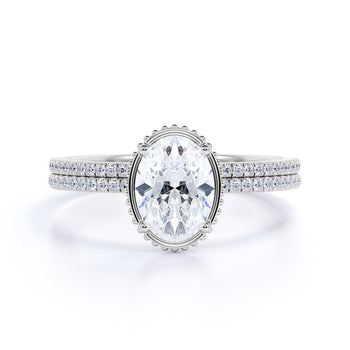 Perfect 1.25 Carat Oval cut Moissanite and Diamond Bridal Ring Set in White Gold