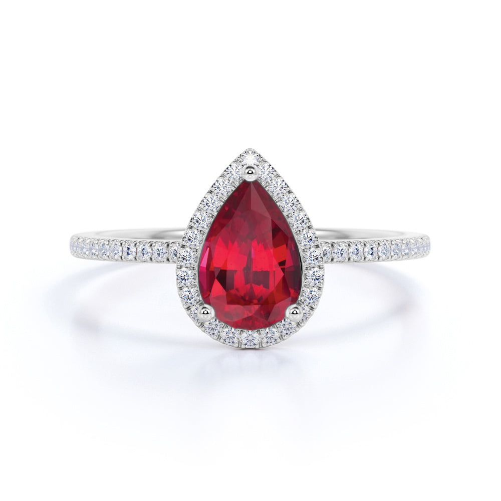 Art Deco 1.25 Carat Pear Cut Real Ruby and Moissanite Engagement Ring in 18k Gold Over Sterling Silver