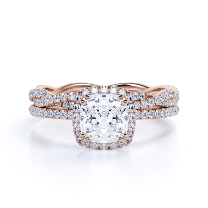 2 Carat Cushion Cut Halo Moissanite and Diamond Bridal Ring Set in 10k Rose Gold for Women