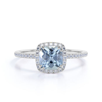 Vintage Style 1.25 Carat Cushion Cut Aquamarine and Antique Diamond Halo Engagement Ring in White Gold