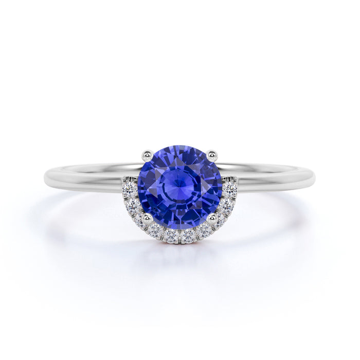 Beautiful 1.25 Carat Round Cut  Sapphire and Diamond Engagement Ring in 10k White Gold