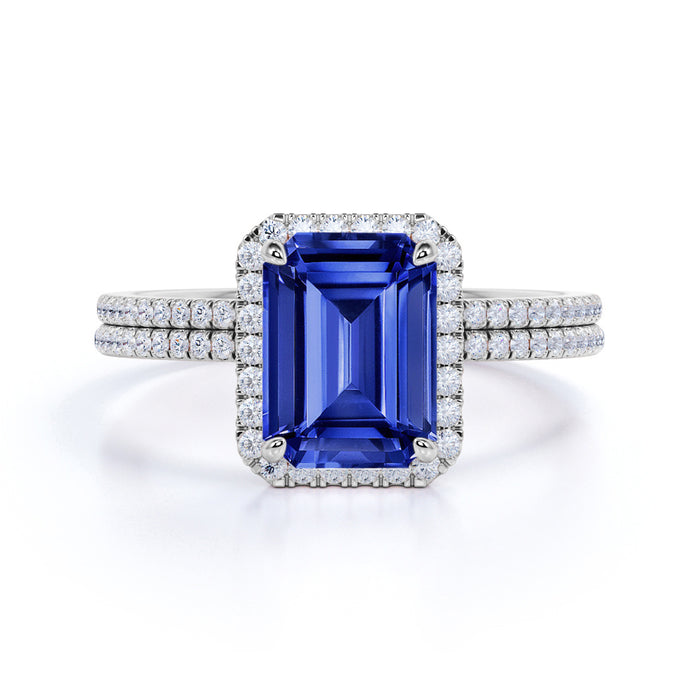 Exquisite 1.5 Carat Emerald Cut Sapphire and Diamond Wedding Ring Set in 10k White Gold