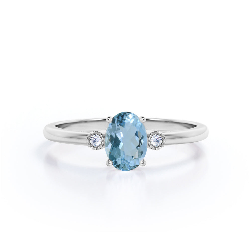 Simple Solitaire 2.15 Carat Oval Cut Natural Deep Blue Aquamarine and Diamond 3 Stone Engagement Ring