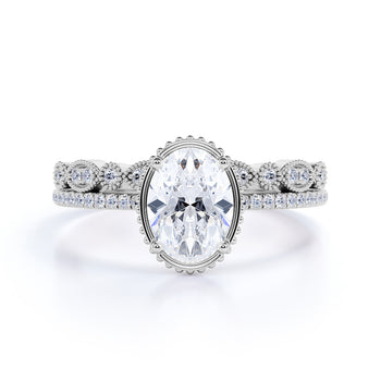Artdeco 1.25 Carat Oval cut Moissanite Wedding Bridal Ring Set in 18k White Gold Over Silver