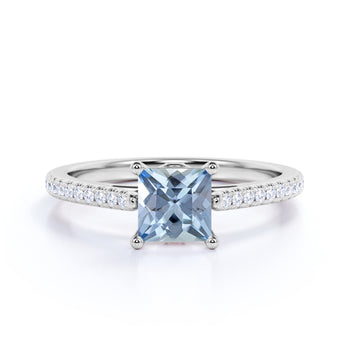 Perfect 1.50 Carat princess cut Aquamarine and Diamond Engagement Ring in White Gold