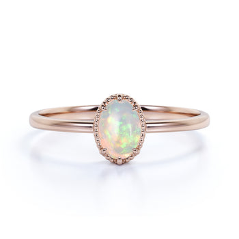 Bestselling 4 Prong 1.50 Oval precious fire opal solitaire engagement ring in Rose Gold