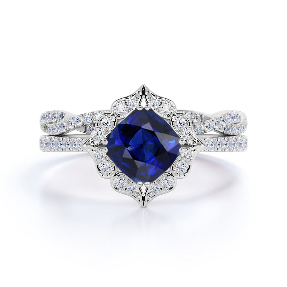 Twisted Floral Pave Set 2.25 Carat Cushion Cut Sapphire and Diamond Halo Wedding Set in White Gold