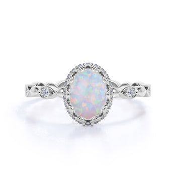 Art Deco 1.50 Carat Oval Cut Fire Opal and Diamond Engagement Ring in White Gold